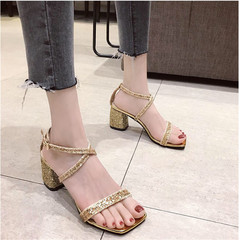 New Women's Fashion Sequins High-heeled Sandals slippers shoes golden 35