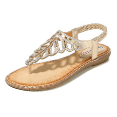 Sandals Beautiful Leaves Water Drill Beads Sandals Beach Toe Slope heels golden 36