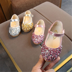 New children's shoes girls princess rhinestone casual shoes pink 21