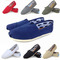New men's and women's canvas shoes solid color flat casual shoes men's and women's shoes blue 40