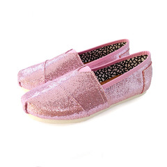 New women's casual canvas shoes sequins shoes casual shoes pink 36