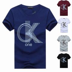 New men's t-shirt summer short sleeve slim cotton round neck trend men's t-shirt shirts dark blue m cotton