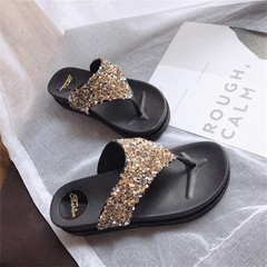 New-style ladies'thick-soled sequined diamond sandals slippers shoes golden 37