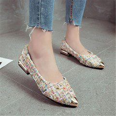 New Women's Fashion Flat-soled Shoes with Point Flat-heeled Shoes white 36