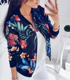 New Women Ladies Cardigan Long Sleeve Floral Printed Zipper Coats Casual Fashion Jackets black M