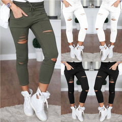 New Skinny Jeans Women Denim Pants Holes Destroyed Knee  Casual Trousers Stretch Ripped green S