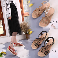 New Summer Ladies Women Leisure Gladiator Sandals Fashion Cross Flat Roman Shoes slippers red 36