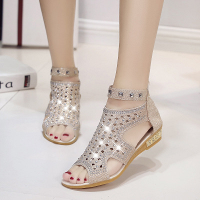 Summer Women's Fashion Rhinestone Sandals Metal Hollow-out Roman Wedge Shoes light brown 36
