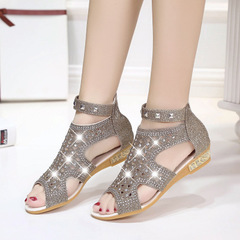 Summer Women's Fashion Rhinestone Sandals Metal Hollow-out Roman Wedge Shoes dark  brown 40