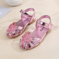 New girls sandals love children's princess shoes hollow sandals pink 26