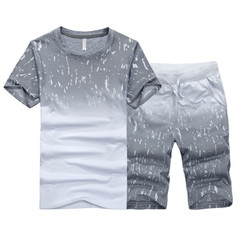 New men's short-sleeved T-shirt sports suit clothes sports tshirts and pants gray xxl cotton