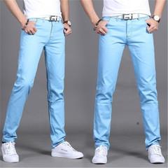 New men's casual trousers  Slim men's waist straight casual pants men's pants blue 32