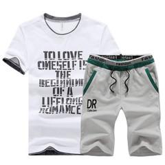 New Men's Sportswear Short Sleeve Suit Sportswear T-shirt shirts and Leisure Short Pants Suit gray xxl cotton