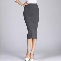 New ladies skirt ribbed cotton knit slim midi women skirt dark gray One size