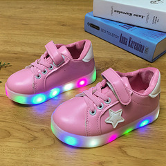 New Children's Board Shoes LED Light Night Star Shoes Small White Shoes for Boys and Girls pink 21