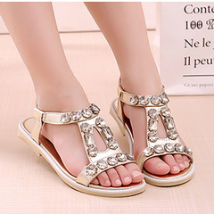 New girls fashion princess shoes in the big children's rhinestone sandals golden 26