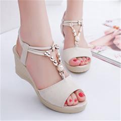 New women fashion elegant sandals ladies daily wedge shoes white 36