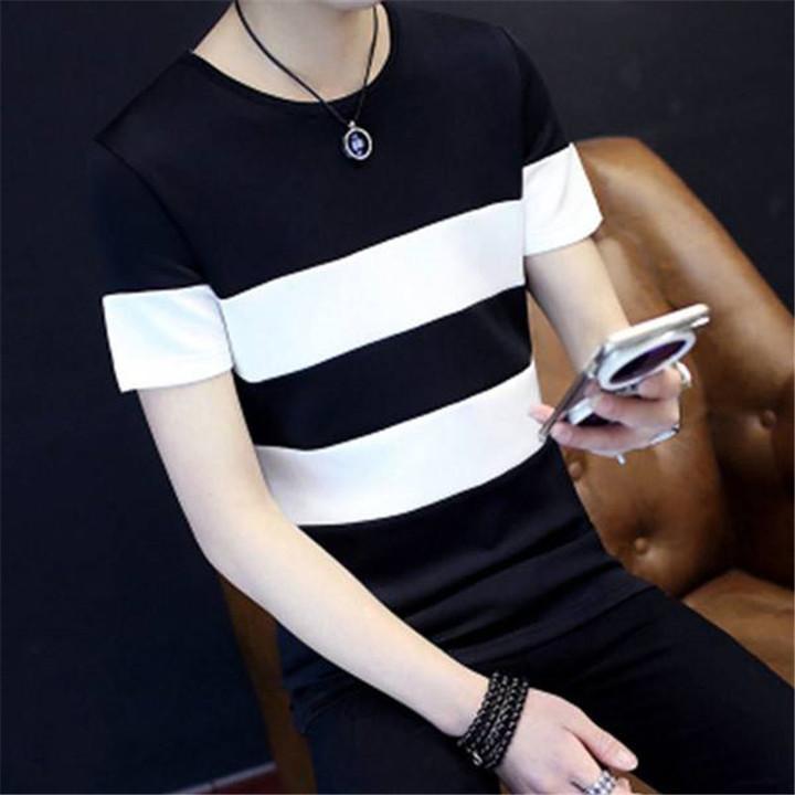 New men's fashion round neck striped wild short-sleeved cotton T-shirt  shirts men black l cotton