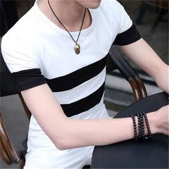 New men's fashion round neck striped wild short-sleeved cotton T-shirt  shirts men white xl cotton
