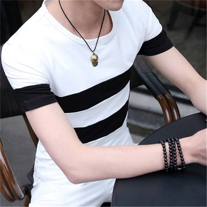 New men's fashion round neck striped wild short-sleeved cotton T-shirt  shirts men white xxl cotton