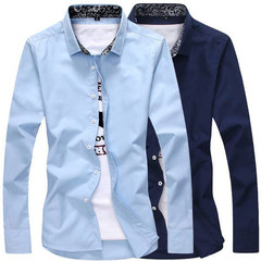 New Men's Fashion Slim Shirt Casual Men's Long Sleeve Shirt blue m