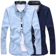 New Men's Fashion Slim Shirt Casual Men's Long Sleeve Shirt blue m