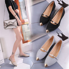 New women's shoes pointed flat shoes shallow mouth single shoes silver 36