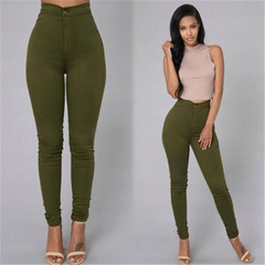 New women's fashion casual high waist stretch jeans trousers dark green l