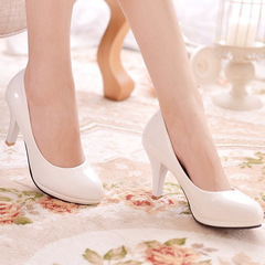 New women's high-heeled round head single shoes black large size shoes white 36