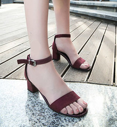 New ladies thick with wild open toe word buckle with Roman high heels women dark red 39