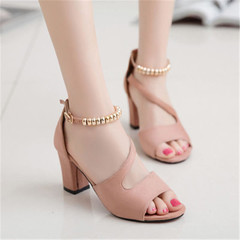 Summer new ladies thick with sandals casual high heels beaded women's slippers shoes pink 37