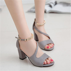 Summer new ladies thick with sandals casual high heels beaded women's sandals gray 41