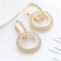 New ladies earrings ring ladies new fashion earrings shiny earrings golden golden A pair
