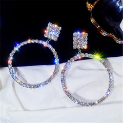 New ladies rhinestone big circle earrings temperament long paragraph high quality earrings silvery a pair