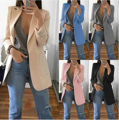 New ladies fashion lapel Slim cardigan temperament suit women jacket khaki s