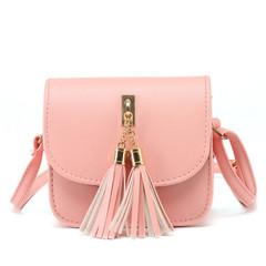 New women fashion elegant trend tassels portable diagonal shoulder bag pink onesize