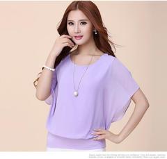 New fashion women's short-sleeved T-shirt large size women's chiffon shirt loose tops shirt purple 2xl