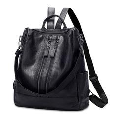 New ladies shoulder bag female bag pu leather ladies fashion women backpack black onesize