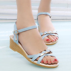 New ladies with flat-bottomed solid color versatile buckle women sandals blue 39