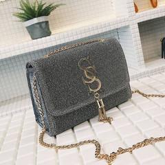 New ladies fashion tassel chic chain girl bag wild shoulder bag  women handbags silvery onesize