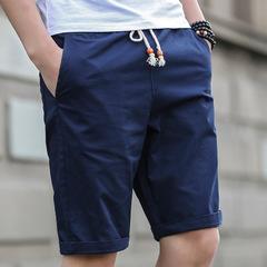 New shorts men's casual beach shorts men's quality bottoms elastic waist blue m