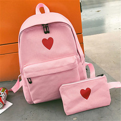 New ladies backpack campus middle school student bag female large capacity pink High quality and Large capacity