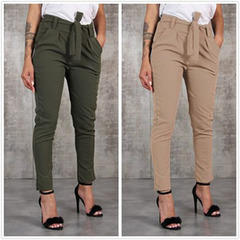 New ladies fashion wild waistband casual pants trousers Khaki s