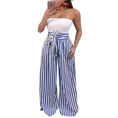 New ladies casual striped loose pants  women trousers blue s