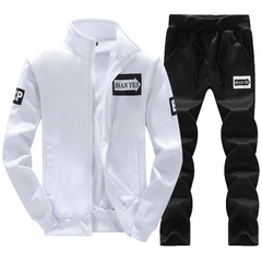 New Men's Sportswear Casual Long Sleeve Jacket Clothes and Pants Set white m