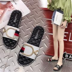 New ladies sandals fashion wear flat sandals slippers white 36