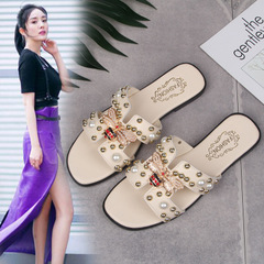 New ladies fashion wear flat bottom summer beach pearl H-shaped sandals and slippers Beige 36