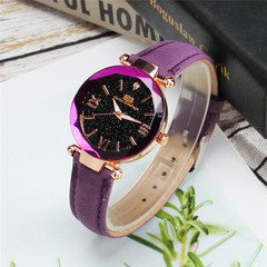 New ladies shiny watch mesh with stylish simple women watches purple onesize