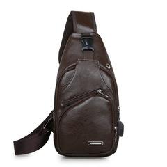 New men's bag casual men's bag diagonal bag shoulder bag backpack dark brown onesize