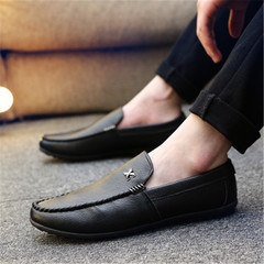 New men's casual shoes flat men's breathable men's shoes black 40 rubber